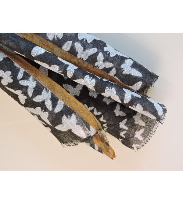 ... Foulard en étamine de laine - noir et blanc - Madame Framboise f6ec404f7ce