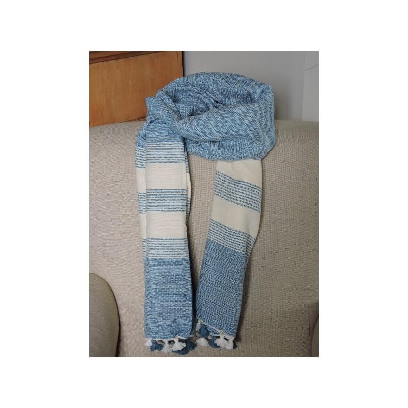 e1b41289a6ca Echarpe tissée - Bleu ciel et écru - Madame Framboise